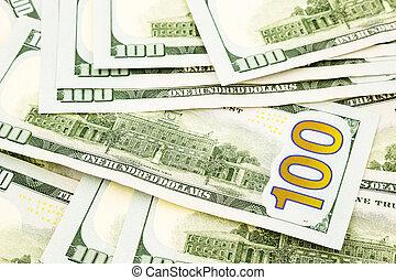 100, billets banque, dollar, nouveau, monnaie, argent, bénéfice, crédit, édition, concept