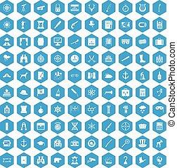 100 binoculars icons set blue