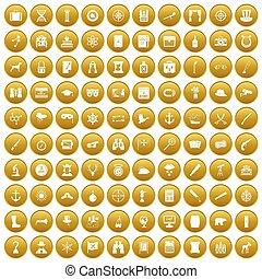 100 binoculars icons set gold