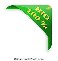 Green corner with a sign bio 100% - vector