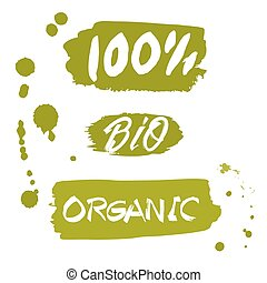 100% Bio organic product hand drawn isolated label
