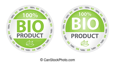 Two bio product labels in green color