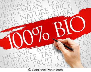 100%, bio, woord, wolk
