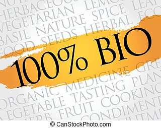 100% BIO word cloud collage