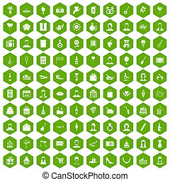 100 birthday icons hexagon green