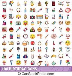 100 birthday icons set, cartoon style