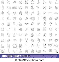 100 birthday icons set, outline style