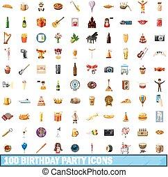 100 birthday party icons set, cartoon style