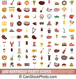 100 birthday party icons set, flat style
