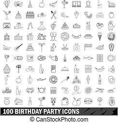 100 birthday party icons set, outline style