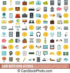 100 bitcoin icons set, flat style