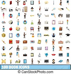 100 book icons set, cartoon style