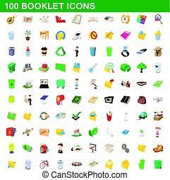 100 booklet icons set, cartoon style