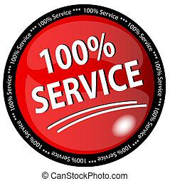 100%, botão, serviço