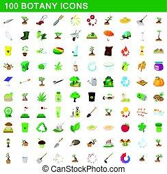 100 botany icons set, cartoon style - 100 botany icons set ...