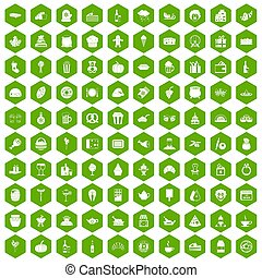 100 bounty icons hexagon green