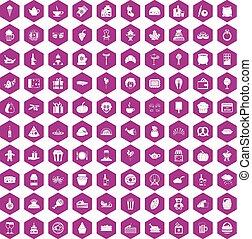 100 bounty icons hexagon violet