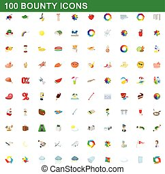 100 bounty icons set, cartoon style