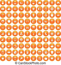 100 bounty icons set orange