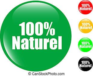100%, bouton, ensemble, naturel, coloré