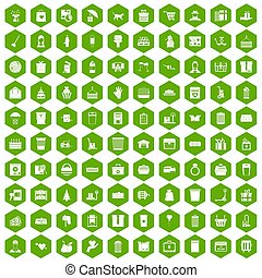 100 box icons hexagon green