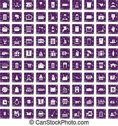 100 box icons set grunge purple