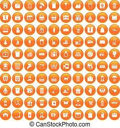 100 box icons set orange