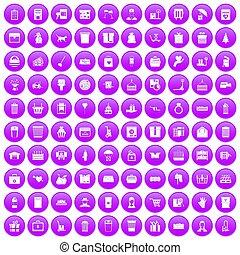 100 box icons set purple