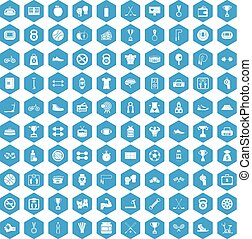 100 boxing icons set blue