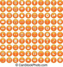 100 boxing icons set orange