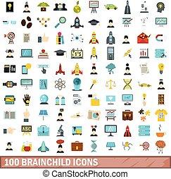 100 brainchild icons set, flat style
