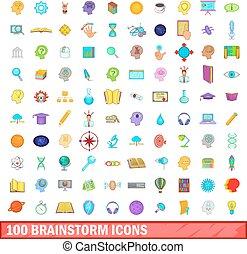 100 brainstorm icons set, cartoon style