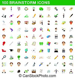 100 brainstorm icons set, cartoon style