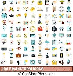 100 brainstorm icons set, flat style