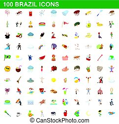 100 brazil icons set, cartoon style