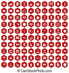 100 breakfast icons hexagon red