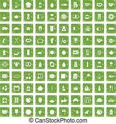 100 breakfast icons set grunge green