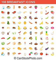 100 breakfast icons set, isometric 3d style