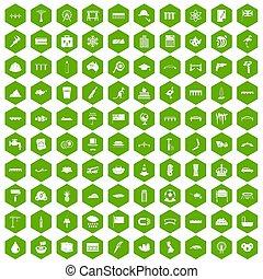 100 bridge icons hexagon green