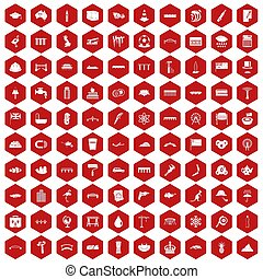 100 bridge icons hexagon red