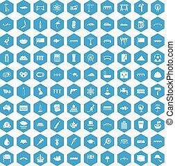 100 bridge icons set blue