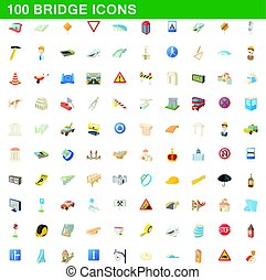 100 bridge icons set, cartoon style