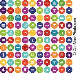 100 bridge icons set color