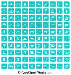 100 bridge icons set grunge blue