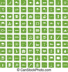 100 bridge icons set grunge green