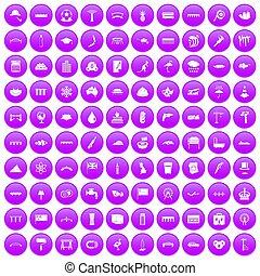 100 bridge icons set purple