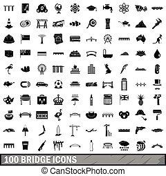 100 bridge icons set, simple style