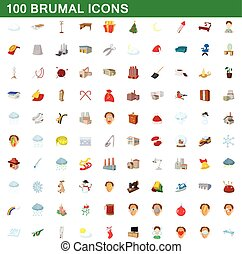 100 brumal icons set, cartoon style
