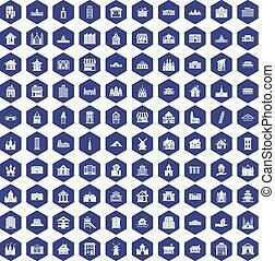100 building icons hexagon purple