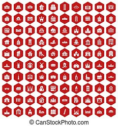 100 building icons hexagon red